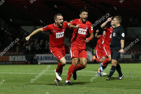 O's Charlie Lee(left) celebrates scoring first goal with Macauley Bonne during Leyton Orient vs Solihull Moors, Vanarama National League Football at The Breyer Group Stadium on 4th September 2018
