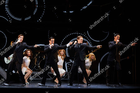 (L-R, front) Thomas Maguire playing Bob Gaudio, Ryan Gonzalez playing Frankie Valli, Cameron Macdonald playing Tommy Devito and Glaston Toft playing Nick Massi perform during a Jersey Boys Media Call at the Capitol Theatre in Sydney, Australia, 05 September 2018.