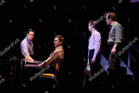 (L-R) Ryan Gonzalez playing Frankie Valli, Glaston Toft playing Nick Massi, Thomas Maguire playing Bob Gaudio and Cameron Macdonald playing Tommy Devito perform during a Jersey Boys Media Call at the Capitol Theatre in Sydney, Australia, 05 September 2018.