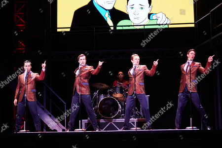 (L-R) Ryan Gonzalez playing Frankie Valli, Thomas Maguire playing Bob Gaudio, Cameron Macdonald playing Tommy Devito and Glaston Toft playing Nick Massi perform during a Jersey Boys Media Call at the Capitol Theatre in Sydney, Australia, 05 September 2018.