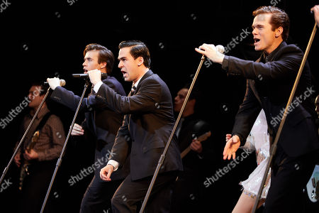 (L-R) Thomas Maguire playing Bob Gaudio, Ryan Gonzalez playing Frankie Valli and Cameron Macdonald playing Tommy Devito perform during a Jersey Boys Media Call at the Capitol Theatre in Sydney, Australia, 05 September 2018.