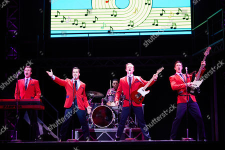 (L-R) Thomas Maguire playing Bob Gaudio, Ryan Gonzalez playing Frankie Valli, Cameron Macdonald playing Tommy Devito and Glaston Toft playing Nick Massi perform during a Jersey Boys Media Call at the Capitol Theatre in Sydney, Australia, 05 September 2018.