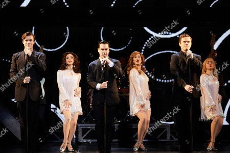 (L-R, front) Thomas Maguire playing Bob Gaudio, Ryan Gonzalez playing Frankie Valli and Cameron Macdonald playing Tommy Devito perform during a Jersey Boys Media Call at the Capitol Theatre in Sydney, Australia, 05 September 2018.