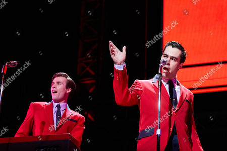 Thomas Maguire (L) playing Bob Gaudio and Ryan Gonzalez playing Frankie Valli performs during a Jersey Boys Media Call at the Capitol Theatre in Sydney, Australia, 05 September 2018.