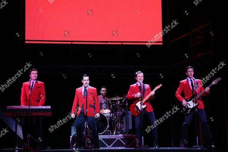 Stock Picture of The Four Seasons - Ryan Gonzalez (Frankie Valli), Cameron Macdonald (Tommy Devito), Thomas Mcguane (Bob Gaudio) and Glaston Toft (Nick Massi)