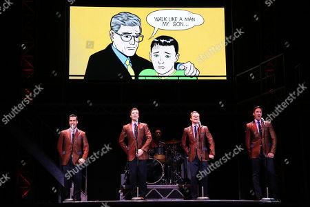 The Four Seasons - Ryan Gonzalez (Frankie Valli), Cameron Macdonald (Tommy Devito), Thomas Mcguane (Bob Gaudio) and Glaston Toft (Nick Massi)