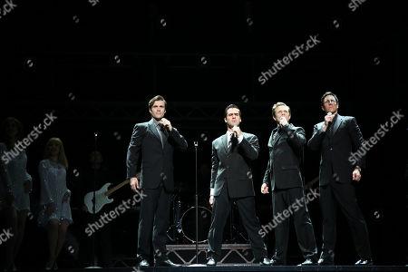 Stock Image of The Four Seasons - Ryan Gonzalez (Frankie Valli), Cameron Macdonald (Tommy Devito), Thomas Mcguane (Bob Gaudio) and Glaston Toft (Nick Massi)