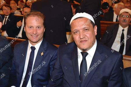 Stock Photo of Sylvain Maillard and l'Imam Chalghoumi at the Synagogue de la Victoire