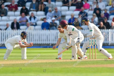 Wicket - Ben Green of Somerset is caught by Karl Brown of Lancashire off the bowling of Keshav Maharaj of Lancashire during the Specsavers County Champ Div 1 match between Somerset County Cricket Club and Lancashire County Cricket Club at the Cooper Associates County Ground, Taunton