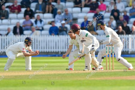 Stock Image of Wicket - Ben Green of Somerset is caught by Karl Brown of Lancashire off the bowling of Keshav Maharaj of Lancashire during the Specsavers County Champ Div 1 match between Somerset County Cricket Club and Lancashire County Cricket Club at the Cooper Associates County Ground, Taunton