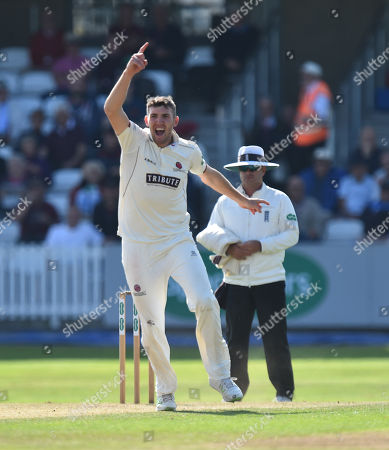 Stock Picture of Craig Overton of Somerset celebrates taking the wicket of Karl Brown of Lancashire during the Specsavers County Champ Div 1 match between Somerset County Cricket Club and Lancashire County Cricket Club at the Cooper Associates County Ground, Taunton