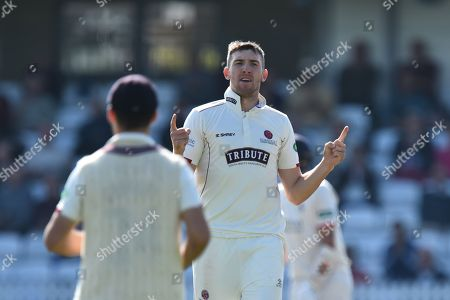 Stock Photo of Craig Overton of Somerset celebrates taking the wicket of Karl Brown of Lancashire during the Specsavers County Champ Div 1 match between Somerset County Cricket Club and Lancashire County Cricket Club at the Cooper Associates County Ground, Taunton