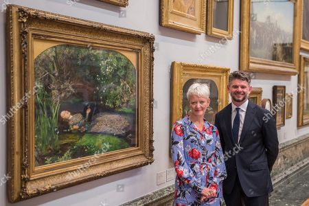 Director of Tate, Maria Balshaw, and the new Director of the National Gallery of Australia, Nick Mitzevich, with John Everett Millais' Ophelia 1851-5 to mark the launch of a major new exhibition at the National Gallery of Australia.