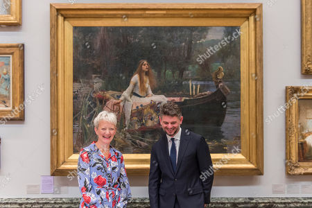 Director of Tate, Maria Balshaw, and the new Director of the National Gallery of Australia, Nick Mitzevich, with John William Waterhouse's The Lady of Shalott 1888 to mark the launch of a major new exhibition at the National Gallery of Australia.