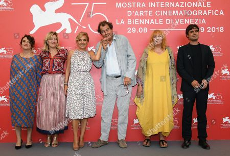 (L-R) French actress Noemie Lvovsky, Italian-French director and actress Valeria Bruni Tedeschi, Italian actress Valeria Golino, French actor Bruno Raffaelli, Belgian actress Yolande Moreau and Italian actor Riccardo Scamarcio pose during a photocall for 'Les Estivants' (The Summer House) during the 75th annual Venice International Film Festival, in Venice, Italy, 05 September 2018. The movie is presented out of competition at the festival running from 29 August to 08 September 2018.
