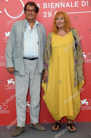 French actor Bruno Raffaelli (L) and Belgian actress Yolande Moreau pose during a photocall for 'Les Estivants' (The Summer House) during the 75th annual Venice International Film Festival, in Venice, Italy, 05 September 2018. The movie is presented out of competition at the festival running from 29 August to 08 September 2018.