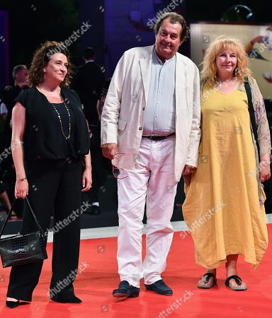 Actors/cast members Noemie Lvovsky (L), Bruno Raffaelli (C) and Yolande Moreau (R) arrive for the premiere of the 'Les Estivants' (The Summer House) during the 75th annual Venice International Film Festival, in Venice, Italy, 05 September 2018. The movie is presented out of competition at the festival running from 29 August to 08 September.
