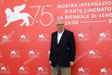 Director Errol Morris poses for photographers at the photo call for the film 'American Dharma' at the 75th edition of the Venice Film Festival in Venice, Italy