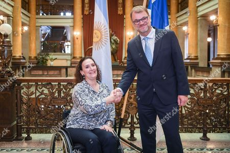 Gabriela Michetti (L), Vice President of Argentina and President of the Senate, meets with Finland's Prime Minister Juha Sipila (R) at the House of the Estates in Helsinki, Finland, 05 September 2018. Michetti is on a five-day visit to Finland to celebrate the 100th anniversary of the establishment of diplomatic ties between the two countries.