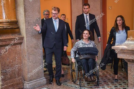 Gabriela Michetti (C), Vice President of Argentina and President of the Senate, meets with Finland's Prime Minister Juha Sipila (L) at the House of the Estates in Helsinki, Finland, 05 September 2018. Michetti is on a five-day visit to Finland to celebrate the 100th anniversary of the establishment of diplomatic ties between the two countries.