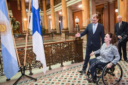 Gabriela Michetti (R), Vice President of Argentina and President of the Senate, meets with Finland's Prime Minister Juha Sipila (L) at the House of the Estates in Helsinki, Finland, 05 September 2018. Michetti is on a five-day visit to Finland to celebrate the 100th anniversary of the establishment of diplomatic ties between the two countries.