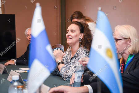 Gabriela Michetti, Vice President of Argentina and President of the Senate, meets with Finland's Prime Minister Juha Sipila (not pictured) at the House of the Estates in Helsinki, Finland, 05 September 2018. Michetti is on a five-day visit to Finland to celebrate the 100th anniversary of the establishment of diplomatic ties between the two countries.