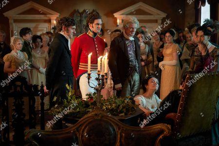Mathew Baynton as Bute Crawley, Tom Bateman as Rawdon Crawley, Martin Clunes as Sir Pitt and Olivia Cooke as Becky Sharp.