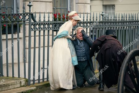 Claudia Jessie as Amelia Sedley, Simon Russell Beale as Mr Sedley and Richie Campbell as Sam.