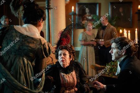 Frances de la Tour as Lady Matilda Crawley and Mathew Baynton as Bute Crawley.