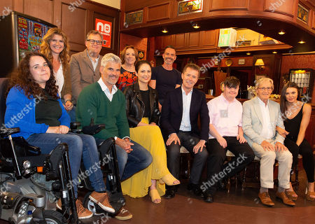 Nicky Campbell in the Rovers Return Pub with members of the cast of Coronation Street, including Cherylee Houston, Connie Hyde, Daniel Brocklebank, Faye Brookes, Katie McGlynn, Liam Bairstow, Melanie Hill, Nicola Thorpe, Tristan Gemmill, William Roache