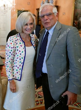 Spanish Foreign Minister, Jose Borrell, poses next to Anna Lindh Foundation President, Elisabeth Guigou (L), during their meeting at Viana palace in Madrid, Spain, 05 September 2018.