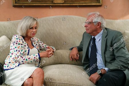 Spanish Foreign Minister, Jose Borrell, chats with Anna Lindh Foundation President, Elisabeth Guigou (L), during their meeting at Viana palace in Madrid, Spain, 05 September 2018.