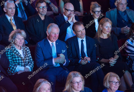 Prince Charles watches a performance alongside (left to right) actress Imelda Staunton, Old Vic Artistic Director Matthew Warchus and Old Vic Executive Director Kate Varah at the Old Vic Theatre, in central London, during a visit to mark the theatre's 200th anniversary.