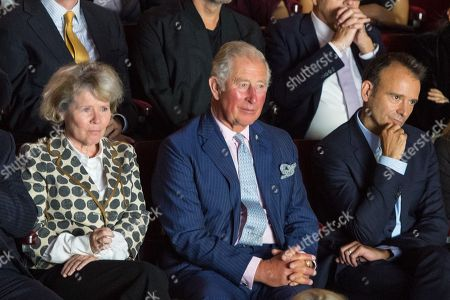 Prince Charles watches a performance alongside actress Imelda Staunton and Old Vic Artistic Director Matthew Warchus at the Old Vic Theatre, in central London, during a visit to mark the theatre's 200th anniversary.