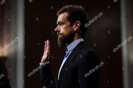 CEO of Twitter Jack Dorsey is sworn-in before testifying before a Senate Intelligence Committee hearing on 'foreign influence operations and their use of social media platforms' in the Dirksen Senate Office Building in Washington, DC, USA, 05 September 2018. Lawmakers are expected to ask the top executives what measures they are implementing to protect their online content from Russian propaganda and political censorship.  (Google) Larry Page was invited to testify but did not show.