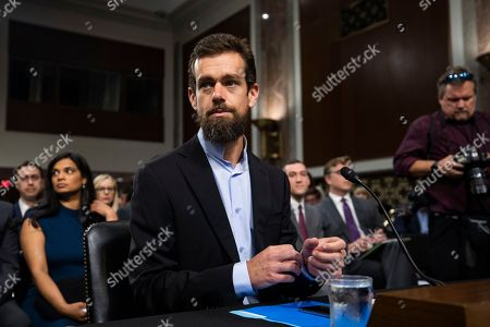 CEO of Twitter Jack Dorsey prepares to testify before a Senate Intelligence Committee hearing on 'foreign influence operations and their use of social media platforms' in the Dirksen Senate Office Building in Washington, DC, USA, 05 September 2018. Lawmakers are expected to ask the top executives what measures they are implementing to protect their online content from Russian propaganda and political censorship.  (Google) Larry Page was invited to testify but did not show.