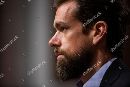 CEO of Twitter Jack Dorsey and testifies before a Senate Intelligence Committee hearing on 'foreign influence operations and their use of social media platforms' in the Dirksen Senate Office Building in Washington, DC, USA, 05 September 2018. Lawmakers are expected to ask the top executives what measures they are implementing to protect their online content from Russian propaganda and political censorship.  (Google) Larry Page was invited to testify but did not show.
