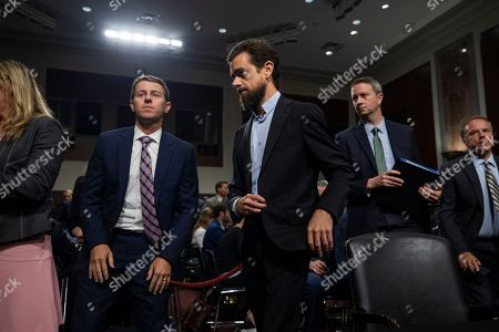 CEO of Twitter Jack Dorsey (C) takes a break while testifying before a Senate Intelligence Committee hearing on 'foreign influence operations and their use of social media platforms' in the Dirksen Senate Office Building in Washington, DC, USA, 05 September 2018. Lawmakers are expected to ask the top executives what measures they are implementing to protect their online content from Russian propaganda and political censorship.  (Google) Larry Page was invited to testify but did not show.