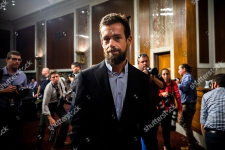 Stock Picture of CEO of Twitter Jack Dorsey departs after testifying before a Senate Intelligence Committee hearing on 'foreign influence operations and their use of social media platforms' in the Dirksen Senate Office Building in Washington, DC, USA, 05 September 2018. Lawmakers are expected to ask the top executives what measures they are implementing to protect their online content from Russian propaganda and political censorship.  (Google) Larry Page was invited to testify but did not show.