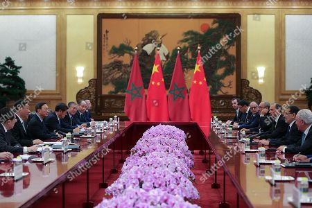 Chinese President Xi Jinping (2nd-L) meets with Moroccan Prime Minister Saadeddine Othmani (3nd-R) in Beijing, China, 05 September 2018.