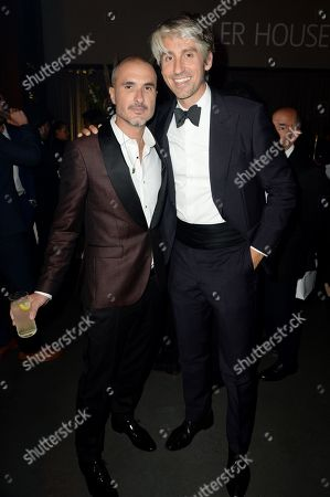 Zane Lowe and George Lamb enjoy Haig Club cocktails at the GQ Men of the Year Awards 2018 at Tate Modern in London