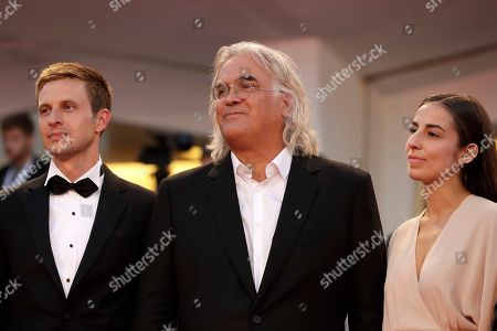 Actor Anders Danielsen Lie, from left, director Paul Greengrass and actress Seda Witt pose for photographers upon arrival at the premiere of the film '22 July' at the 75th edition of the Venice Film Festival in Venice, Italy