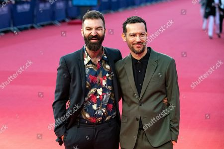 US director Jeremiah Zagar (L) and US novelist Justin Torres arrive on the red carpet prior to the premiere of 'Adrift' during the 44th Deauville American Film Festival, in Deauville, France, 05 September 2018. The festival runs from 31 August to 11 September.