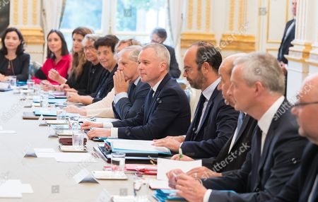 French Secretary of State in charge of Ecological and Inclusive Transition Brune Poirson, French Minister in charge of Equality between Men and Women Marlene Schiappa, French Minister in charge of transport Elisabeth Borne, French High Education and Research Minister Frederique Vidal, French Territorial and Cohesion Minister Jacques Mezard, French Ecological and Social Transition Minister Francois de Rugy and French Prime Minister Edouard Philippe attend the weekly cabinet meeting