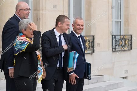 French Agriculture Minister Stephane Travert, French Junior Defence Minister Genevieve Darrieussecq, French Junior Minister for Public Administration Olivier Dussopt and French Ecological and Social Transition Minister Francois de Rugy after the weekly cabinet meeting