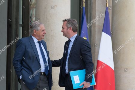French Territorial and Cohesion Minister Jacques Mezard and French Junior Foreign Affairs Minister Jean-Baptiste Lemoyne leave after the weekly cabinet meeting