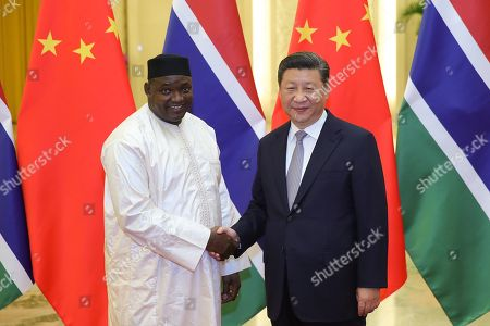 Chinese President Xi Jinping (R) shakes hands with Gambian President Adama Barrow (L) during a meeting at The Great Hall of People in Beijing, China, 06 September 2018.