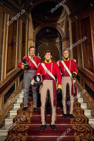 Richard Dixon as General Tufto, Johnny Flynn as William Dobbin and Charlie Rowe as George Osborne.