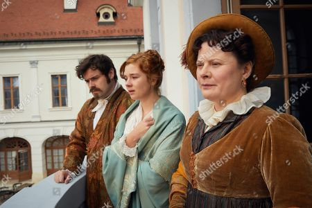 Stock Image of David Fynn as Jos Medley, Claudia Jessie as Amelia Sedley and Monica Dolan as Mrs Peggy O'Dowd.