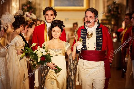 Stock Photo of Olivia Cooke as Becky Sharp, Tom Bateman as Rawdon Crawley and Richard Dixon as General Tufto.